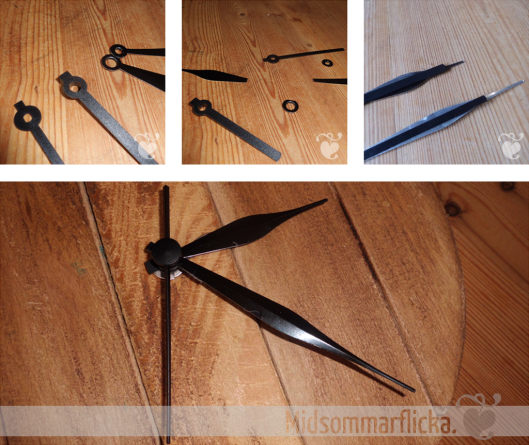 Turning boring plastic clock hands in something more chic « Midsommarflicka | So, it was weekend. And I was bored.