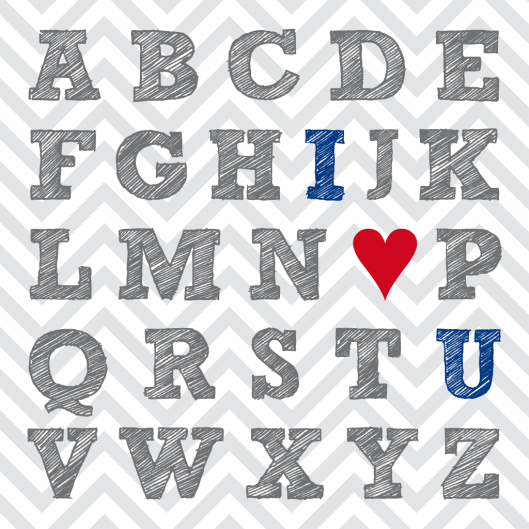 FREE Valentine { I ❤ U } Typography Printables « Midsommarflicka | So, it was weekend. And I was bored.
