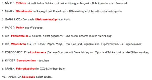 Handmade Kultur Inhaltsverzeichnis