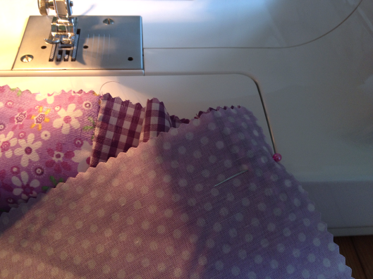 floral &  checkered fabric already sewn, next is the polka dot fabric