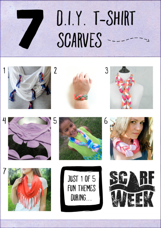 7 D.I.Y. T-Shirt Scarves | Who knew all the upcycling possibilities that existed with something as simple as a t-shirt? We've got neck scarves, cape scarves, wrist scarves...and this is just one of FIVE inspirational themes during the Second Annual Scarf Week. Let's get scarfy!